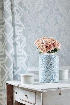 Stunning aqua damask wallpaper design by Thibaut.