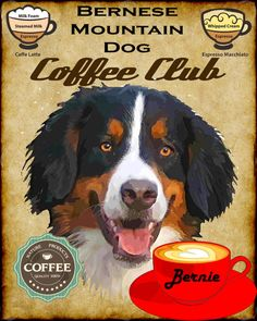 Items similar to Bernese Mountain Dog Coffee Club Art Poster Print YOUR DOGS NAME on Etsy