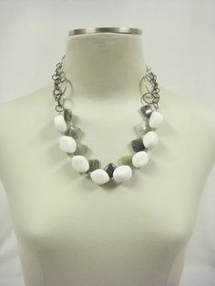 Chunky White Bead and Chain Two-Strand Necklace from Picsity.com