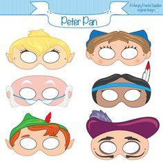 Peter Pan Printable Masks, peter pan mask, pan costume, captain hook, fairy…