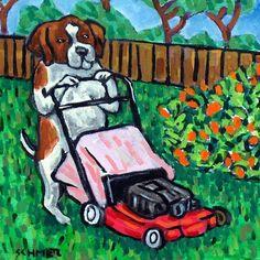 saint bernard dog art tile coaster gift modern folk JSCHMETZ mowing the lawn