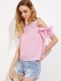 Top de cuadros con hombros abiertos con lazo -Spanish SheIn(Sheinside) Fashion Now, Tween Fashion, Retro Fashion, Fashion Outfits, Womens Fashion, Collar Designs, Sleeve Designs, Stylish Outfits, Kids Outfits