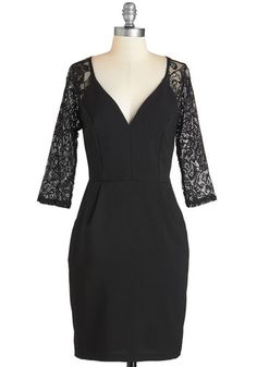 I Bid You Salut Dress - Mid-length, Woven, Lace, Black, Solid, Lace, Pockets, Party, Cocktail, LBD, Sheath, V Neck