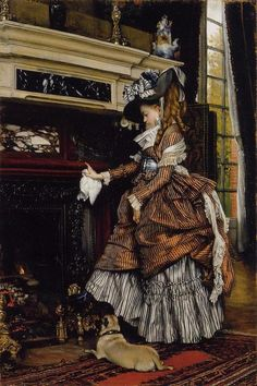 The Fireplace by James Jacques Joseph Tissot