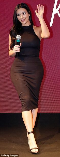 Working the crowd: Kim was a sight to behold as she promoted her latest endeavour
