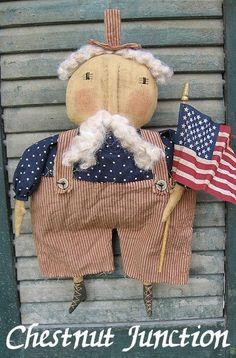Uncle Sam ePattern primitive country cloth doll pattern decoration ornament fabric craft sew design decor patriotic july 4th american americana usa summer flag freedom plush plushie softie painted rustic shabby chic cottage crafts Uncle Sam sewing patterns by Chestnut Junction.