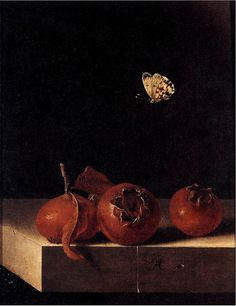 Adriaen Coorte 'Still Life with Three Medlars and a Butterfly' c. 1696-1700 by Plum leaves, via Flickr