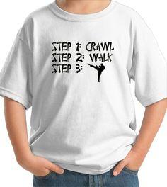 STEPS Crawl Walk Future Karate TaeKwonDo Super Star Baby Infant T-Shirt Martial Arts Fighter