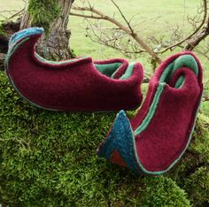 Ruby Elf Slippers upcycled wool & leather