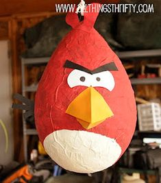 Angry birds pinata pic and how to make pinata w/balloon tutorial