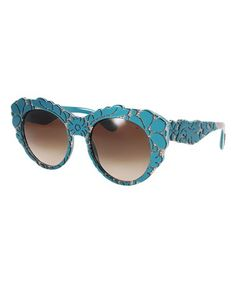 608f814beaa94 Blue  amp  Brown Gradient Floral Round Sunglasses  zulily  zulilyfinds Blue  Brown
