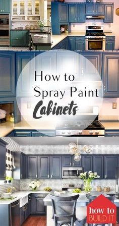 Spray Paint Updates / Low Cost and High Impact / House Makeover Ideas - DIY Projects Diy Kitchen Cabinets, Built In Cabinets, Painting Kitchen Cabinets, Kitchen Sink, Inside Cabinets, Home Renovation, Home Remodeling, Kitchen Remodeling, Basement Renovations