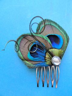 JOELLE Peacock Hair Comb Feather Fascinator by Lucyohlucy on Etsy