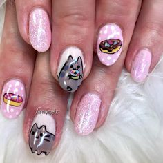 Pusheen nails - 27 Kawaii Nail Art Designs Kawaii Nail Art, Nail Art Galleries, Pusheen, Art Boards, Nail Art Designs, Nailart, Hand Painted, Manicures, Cat