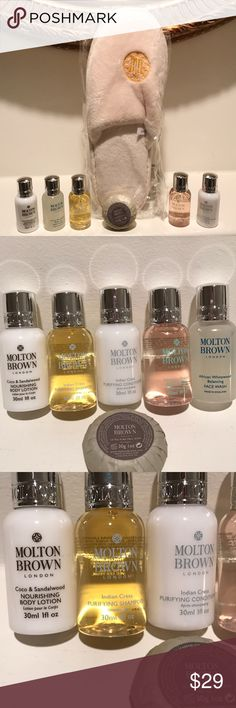 New 7 Piece Molton Brown Hotel Spa Slippers Set Pamper yourself today! Sample six travel size Molton Brown spa products! All are new and unused. Also relax in brand new in packaging plush soft terry cloth slippers from the historic Five Star Hermitage Hotel in downtown Nashville! Included is Body Lotion, Face Wash, Body wash, Indian Cress Shampoo and Conditioner.  I have four if these sets available  For sale. Molton Brown London Makeup Brushes & Tools