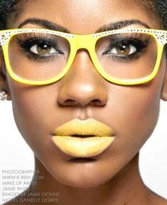Yellow lipstick and glasses - Make-up by Jamie Dionne