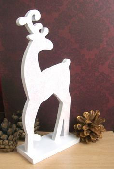 White Reindeer Christmas Decoration Wood With Sparkle Glitter