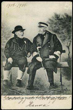 KONG OSCAR OG DEN NORSKE BONDE OLE HAAVE FRA TELEMARKEN. Brevkort. Brukt 1904