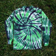 Green and Black Spiral Tie-dye Long-sleeved by RainbowMoonTieDye