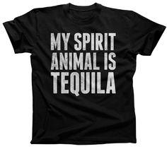 Men's My Spirit Animal is Tequila T-Shirt Cinco De Mayo Drinking
