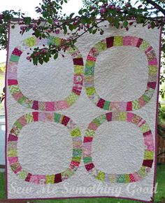 Love the color combination...Sew Me Something Good: Cherry Blossoms Baby Quilt - Single Girl pattern
