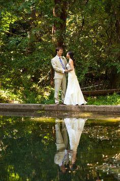 Beautiful outdoor wedding reflection photo