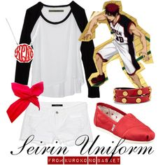 """[Kuroko no Basket] Seirin Uniform - White"" by animangacouture on Polyvore www.otakucouture.com"
