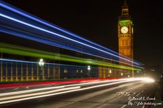 Light trails on the Westminster Bridge and Big Ben