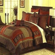 Queen King Cal King Brown Red Orange Green Bedding Comforter Set Bed in a Bag