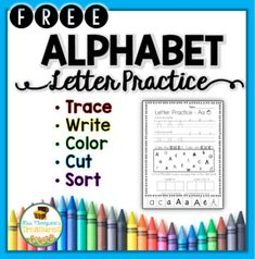 This is a free sample from my Alphabet Letters Practice Pages Pack   Students will:  ✅ Trace  ✅ Write  ✅ Find & color with dot markers or crayons  ✅ Cut, sort, and glue capital and lowercase letters