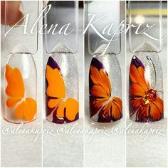 Butterfly blended amber color nail art