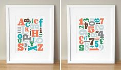 custom colors alphabet soup & number jumble prints (sugarfresh) $45.00 for both prints