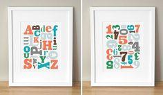 custom colors alphabet soup & number jumble prints (sugarfresh) $45.00 for both prints