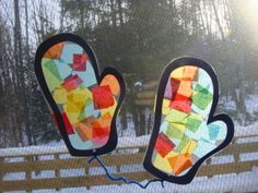 week two: animals in winter Suncatcher Mittens (to go with the Mitten book)