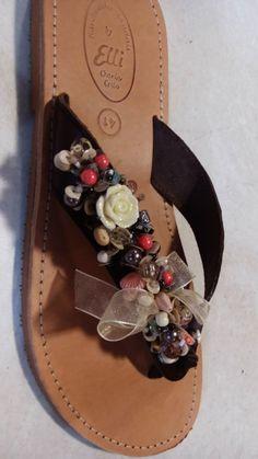 Handmade leather sandals with pearls designed by Elli lyraraki!!
