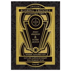 Roaring 20s art deco black and gold engagement party invitation with unique, elaborate art deco frame. The roaring twenties is a great decade theme for an engagement party because the decade was glamorous and ritzy. A popular design style for the 1920's was art deco which featured geometric lines and patterns formed into elaborate designs. The 1920s was a booming economic time with a loosening of cultural conservatism. Big band and jazz music was popular and woman went to dance in dresses with f Roaring Twenties, The Twenties, Twenties Party, Speakeasy Party, 1920s Party, Gatsby Wedding, Party Wedding, Wedding Engagement, Fun Party Themes