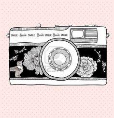 Backgroud,Floral retro camera