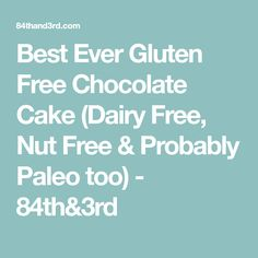 Best Ever Gluten Free Chocolate Cake (Dairy Free, Nut Free & Probably Paleo too) - 84th&3rd