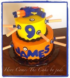 The Nerf Cake The Effective Pictures We Offer You About Nerf Gun. Best Picture For Nerf Gun Cake w Nerf Party, 5th Birthday Party Ideas, Birthday Fun, Birthday Cakes, Nerf Gun Cake, Gun Cakes, Cakes For Boys, Cakes And More, Themed Cakes
