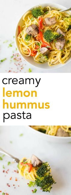Creamy Lemon Hummus Pasta with Roasted Vegetables: A quick 20-minute meal that's gluten free, vegan, and healthy! || fooduzzi.com recipe