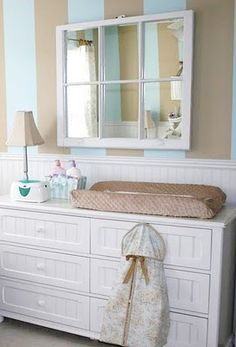 Old window to beautiful mirror (or use a framed mirror and glue on wooden beading)