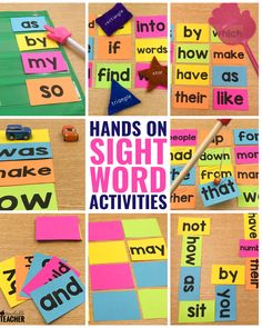 Sight word activities can be fun and engaging for preschool, kindergarten, first grade, and grade students in the classroom. These are my favorite hands on activities that require NO worksheets. Get the free flashcards and you're ready to play! Preschool Sight Words, Teaching Sight Words, Sight Word Practice, Sight Word Games, Sight Word Activities, Teaching Activities, Hands On Activities, Teaching Ideas, Spelling Activities