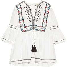 Talitha Embroidered cotton blouse found on Polyvore featuring tops, blouses, ivory, neck tie blouse, white embroidered blouse, white necktie, bell sleeve tops and white cotton blouse