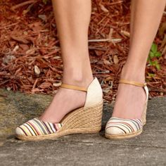 White Mountain Shoes Mamba Pink Multi Striped Wedge