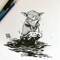 "13.2 m Gostos, 55 Comentários - skottie young (@skottieyoung) no Instagram: ""Yoda #dailysketch #sketch #ink #starwars #jedi #jedimaster #empirestrikesback"""