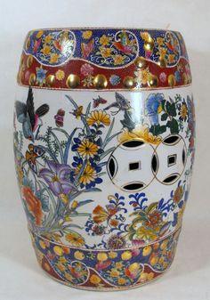Oriental Garden Stool Ceramic Featuring Weatherproof Blue Whit Stools