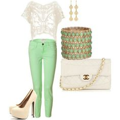 #Green #White #Gold #Summer