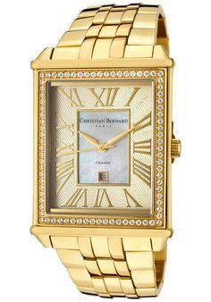 Christian Bernard Paris Men's Highlight Rectangular Gold & CZ Watch Have it. Cute Watches, Casual Watches, Mens Highlights, Lucien Piccard, Parisian Style, Square Watch, Gold Watch, Bag Accessories, Bracelet Watch