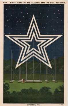 #Vintage #Virginia #Postcard - #Mill #Mountain #Star at Night, #Roanoke    http://dennisharper.lnf.com/