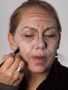 Als -alte Frau- für Karneval oder Mottoparty schminken - Rouge